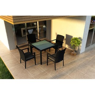 Azariah 5 Piece Sunbrella Dining Set with Cushions By Orren Ellis
