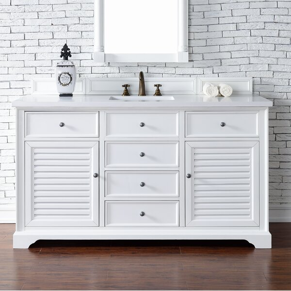 Osmond 60 Single Cottage White Stone Top Bathroom Vanity Set by Greyleigh