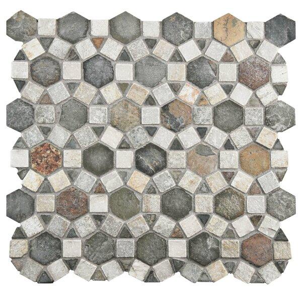 Peak Random Sized Natural Stone Textured Mosaic in Gray/Brown by EliteTile