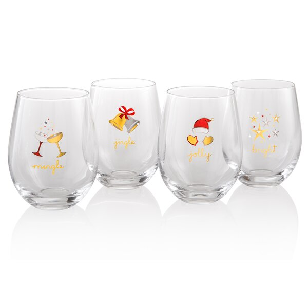 Glass Assorted Stemless Glass Set (Set of 4) by The Holiday Aisle