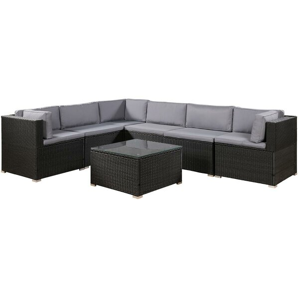 Alisse 7 Piece Rattan Sectional Seating Group with Cushions by Latitude Run