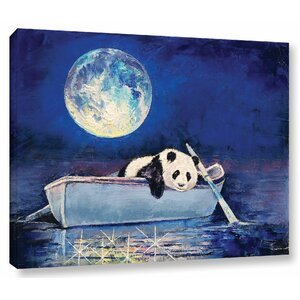 Panda Blue Moon Painting Print on Wrapped Canvas by Ivy Bronx