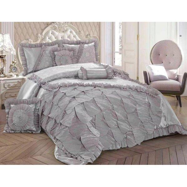 Blanton Silver Rose Petals Ruffle Comforter Set