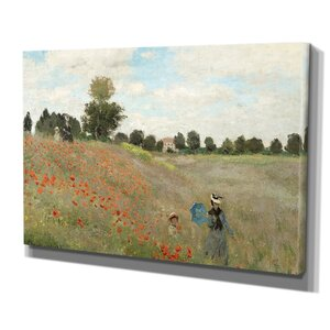 'Poppy Field' by Claude Monet Painting Print on Wrapped Canvas by Wexford Home