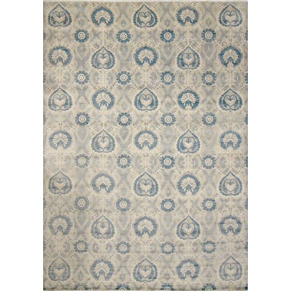 One-of-a-Kind Lona Hand-Knotted Wool Gray/Blue Area Rug by Isabelline