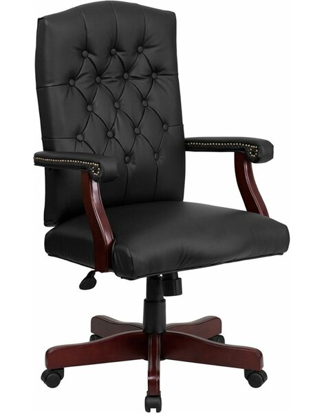 Hickox Button Tufted Leather Executive Chair by Darby Home Co