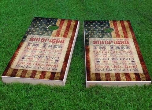 Proud to be an American Cornhole Game (Set of 2) by Custom Cornhole Boards