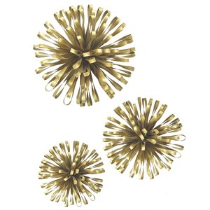 Beau 3 Piece Ribbon Starburst Metal Wall Décor Set