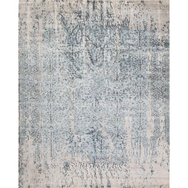 One-of-a-Kind Hand-Knotted Beige/Navy 11'9 x 14'7 Area Rug