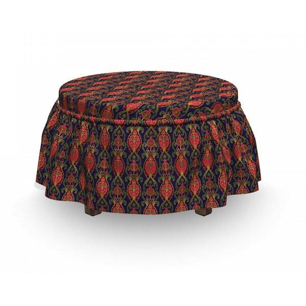 Turkish Orient Pomegranates 2 Piece Box Cushion Ottoman Slipcover Set By East Urban Home