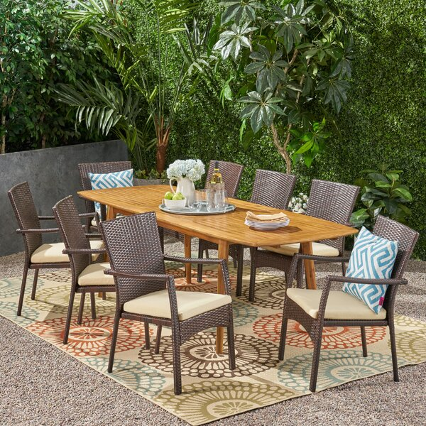 Reinhard Outdoor Expandable 9 Piece Dining Set with Cushions by Highland Dunes