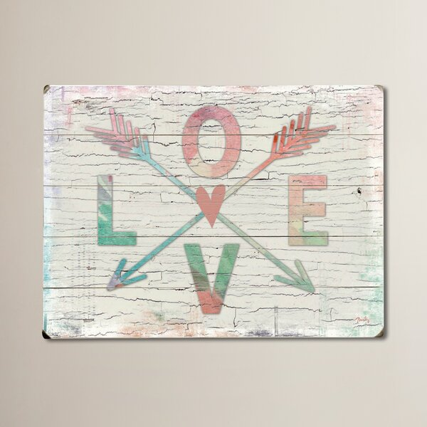 Love Arrows Textual Art on Wood by Wrought Studio