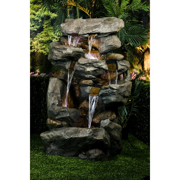 Fiberglass/Polystone Rainforest Waterfall Fountain with LED Light by Alpine