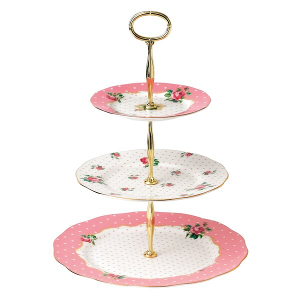 Cheeky Pink Roses Cheeky Pink Vintage 3-Tier Cake Stand by Royal Albert