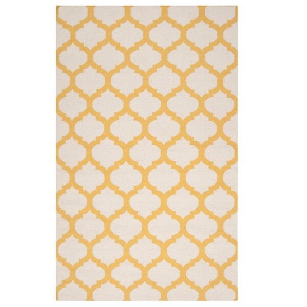 Hand Woven Wool Ivory/Yellow Area Rug by Surya