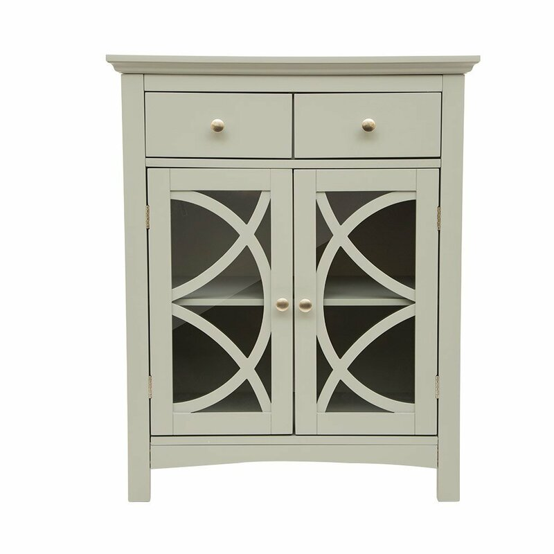 Free Standing Kitchen Cabinets With Glass Doors: Glitzhome Wooden Free Standing 2 Drawer Accent Cabinet