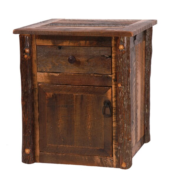 Barnwood End Table With Storage by Fireside Lodge