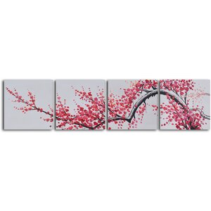 'Extension of Asian Branch' 4 Piece Painting on Wrapped Canvas Set by Bloomsbury Market