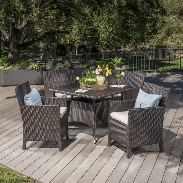 Arbour Outdoor Wicker 5 Piece Dining Set with Cushions by Ivy Bronx