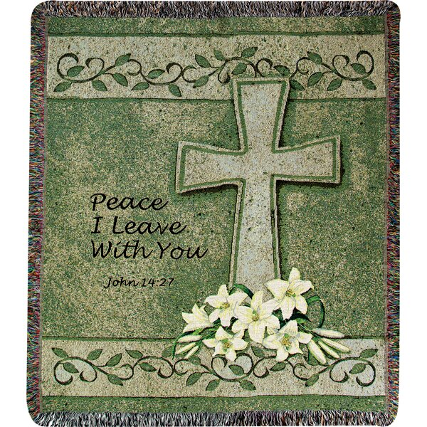 Peace I Leave with You Tapestry Cotton Throw by Manual Woodworkers & Weavers