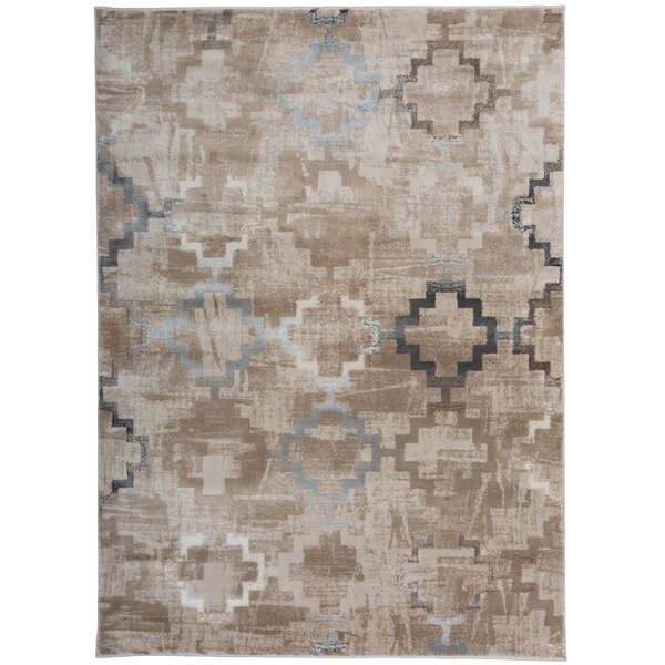 Lancaster Distressed Contemporary Design Beige Area Rug by Union Rustic