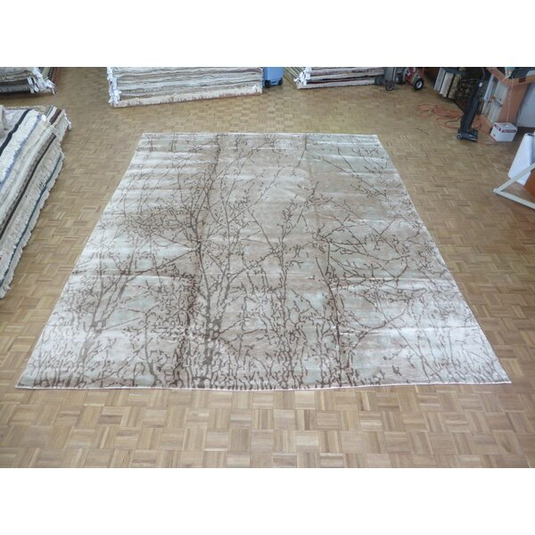 One-of-a-Kind Padang Sidempuan Modern Hand-Knotted Wool Ivory/Brown Area Rug by Bloomsbury Market