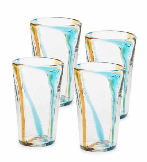 Chronister Satori Stripe Recycled Tumblers Glass Every Day Glasses (Set of 4) by Red Barrel Studio