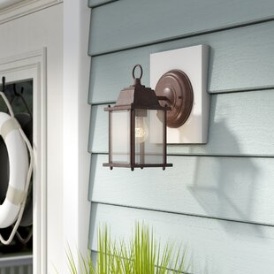 Top Caldecott Cube 1-Light Outdoor Wall Lantern By Highland Dunes