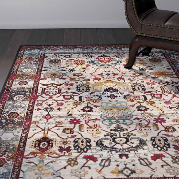 Wayne Ivory/Anthracite Area Rug by World Menagerie