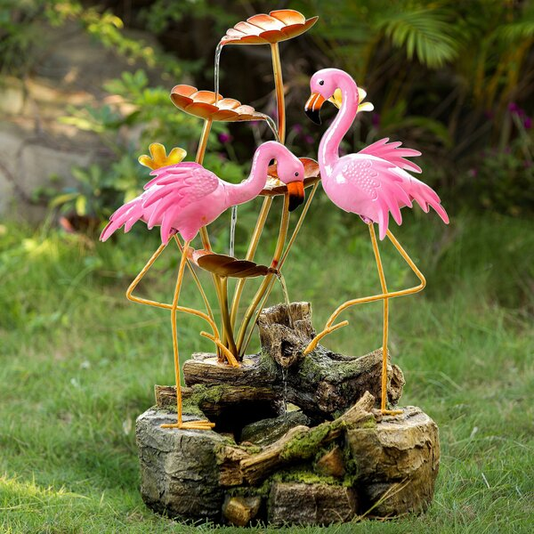 Polyresin/Metal 2 Flamingo Water Fountain by Jeco Inc.