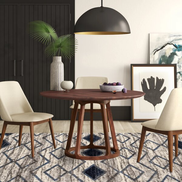 Liddle Walnut Solid Wood Dining Table By Mercury Row
