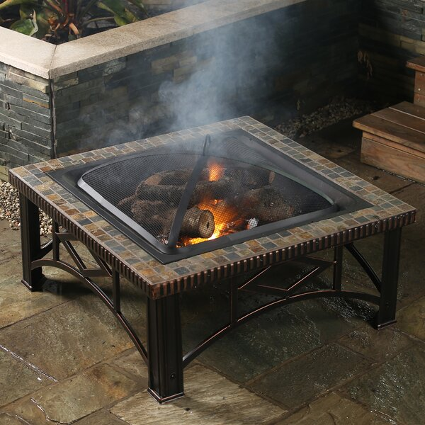Square Slate Wood Fire Pit by Winsome House