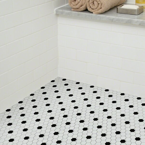 Sophisticated 0.7 x 0.7 Porcelain Mosaic Tile in White/Black by Shaw Floors