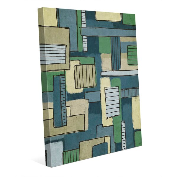 Bars and Boxes Green and Blue Painting Print on Wrapped Canvas by Click Wall Art