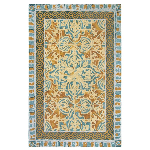 Tuscan Tile Hand-Tufted Blue/Beige Area Rug by CompanyC
