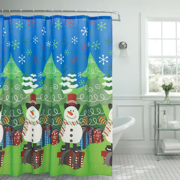 Tree and Snowman Shower Curtain by The Holiday Aisle