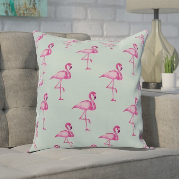 Crosswhite Flamingo Fanfare Multi Animal Print Indoor/Outdoor Throw Pillow by Wrought Studio
