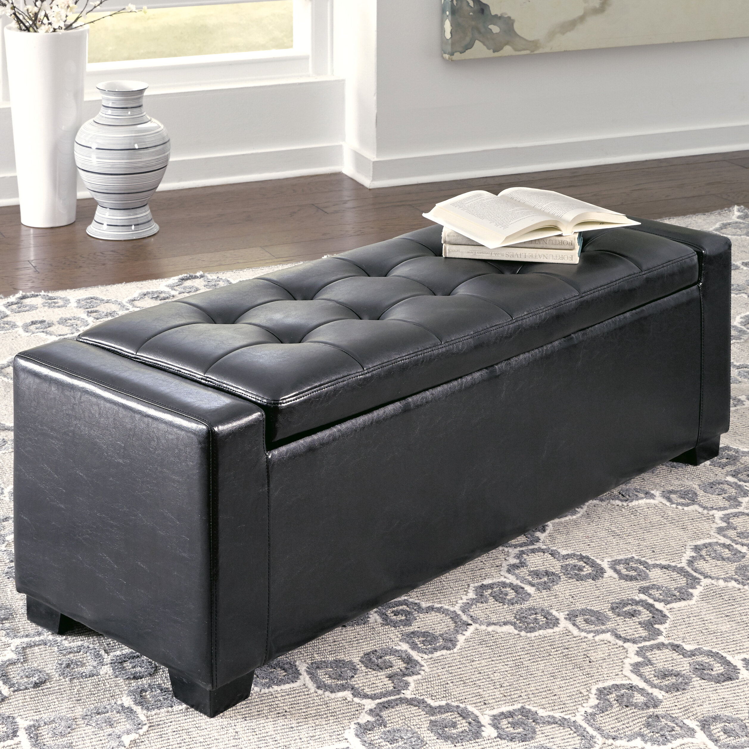 storage bench upholstered itm ebay black leather tufted glam