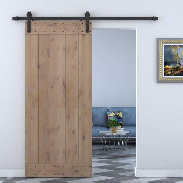 Solid Wood Panelled Alder Interior Barn Door by Calhome