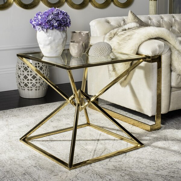 Fiorella Glass Top Abstract End Table By Mercer41