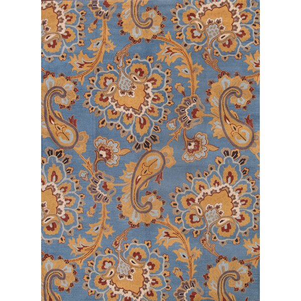 Sasha Agra Classical Traditional Oriental Hand-Tufted Wool Brown/Blue Area Rug by Darby Home Co