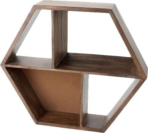 Wooden Hexagon Hanging Wall Shelf with Mirror by Floor 9