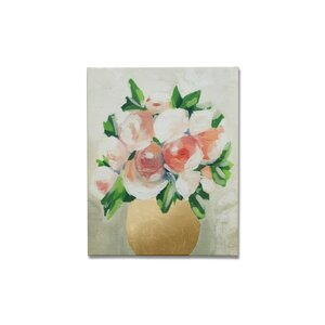 Peach Peony Tulips Painting Print on Canvas by Lark Manor
