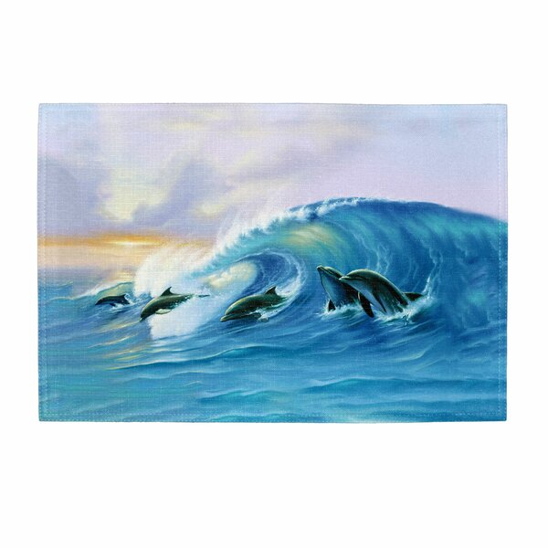 Surfing Dolphins Placemat (Set of 2) by Live Free