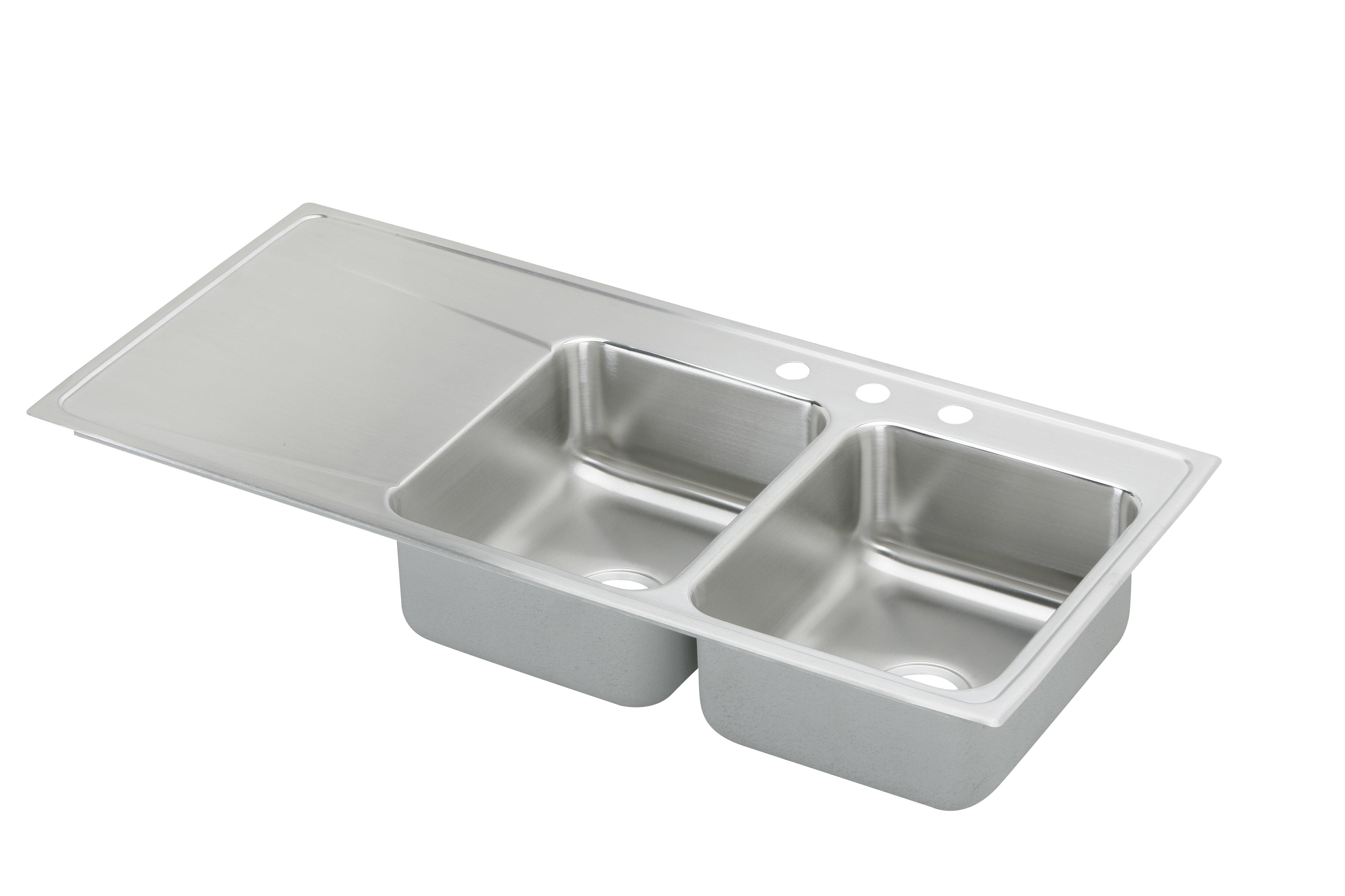 Image of: Elkay Lustertone 48 L X 22 W Double Basin Drop In Kitchen Sink With Drainboard Wayfair