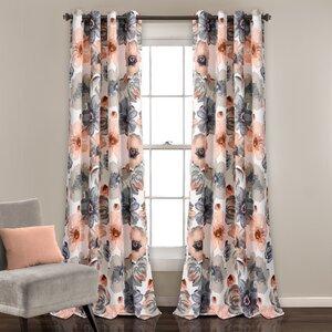 Knox Nature/Floral Room Darkening Thermal Grommet Curtain Panels (Set of 2)