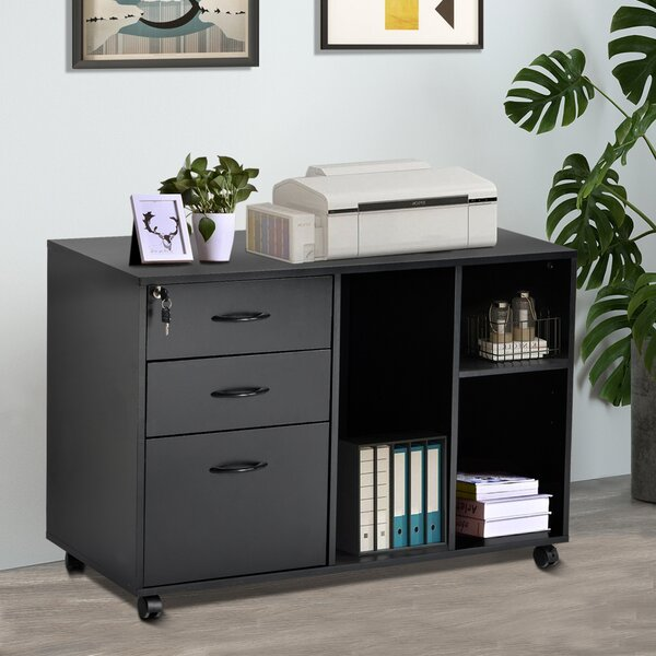 Home Office 3-Drawer Mobile Lateral Filing Cabinet