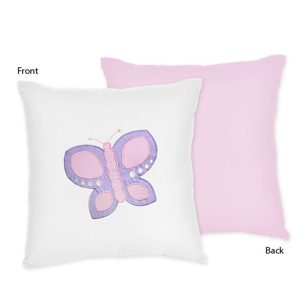 Butterfly Cotton Throw Pillow by Sweet Jojo Designs