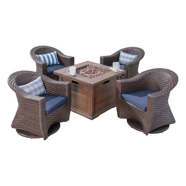 Reina Patio 5 Piece Conversation Set with Cushions by Longshore Tides