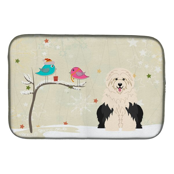 Christmas Presents Between Friends Old English Sheepdog Dish Drying Mat by Caroline's Treasures